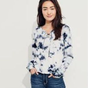 Hollister Tie Dye Lace Up Neck Long Sleeve Shirt
